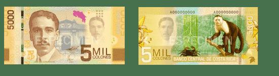 5000 colones - pièces et billets du Costa Rica