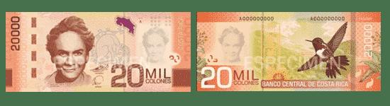 20000 colones - pièces et billets du Costa Rica