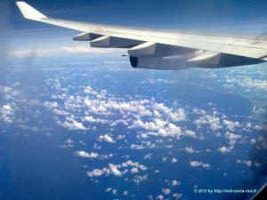 Images en avion de France, Madrid, au Costa Rica - San José