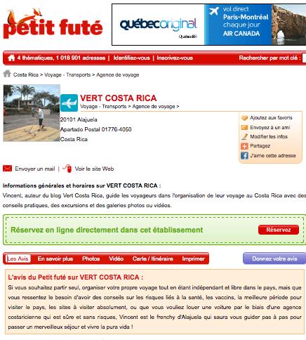 Presse - Avis du petit futé sur Vert Costa Rica