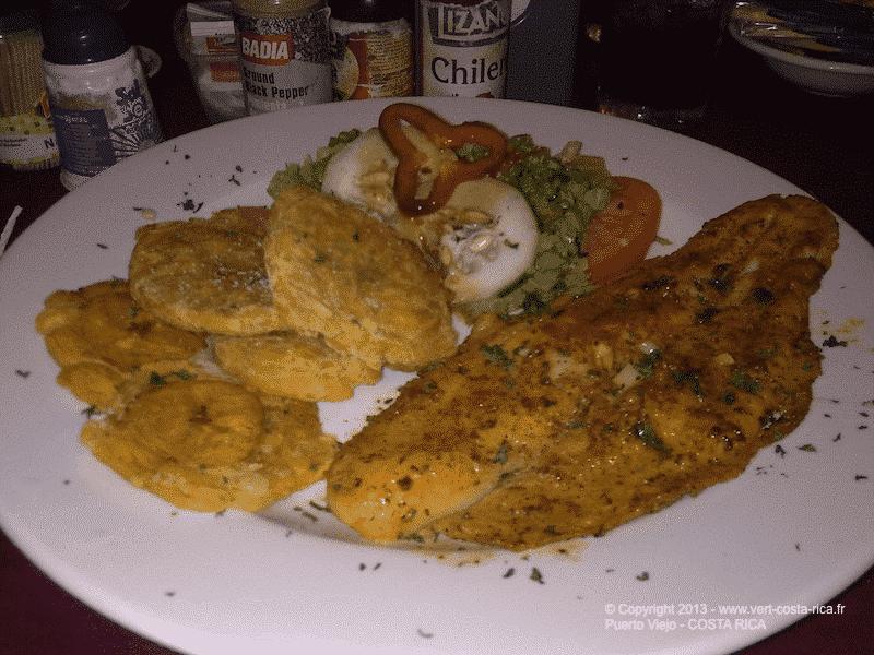 Visite de Puerto Viejo de Talamanca : Repas avec patacones et poisson