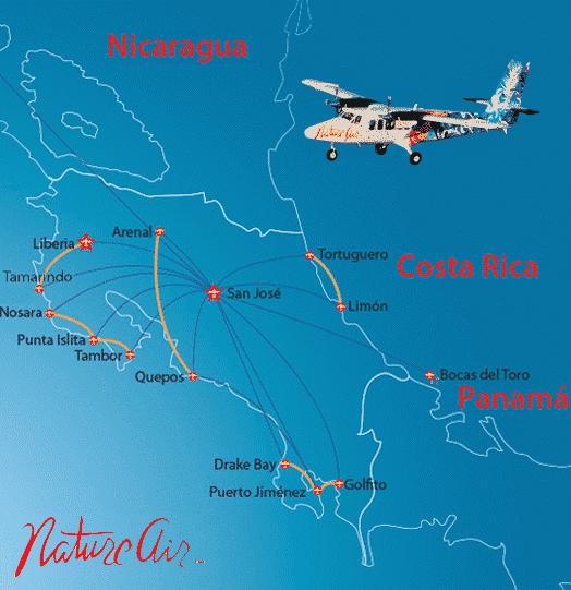 Carte Vols au Costa Rica