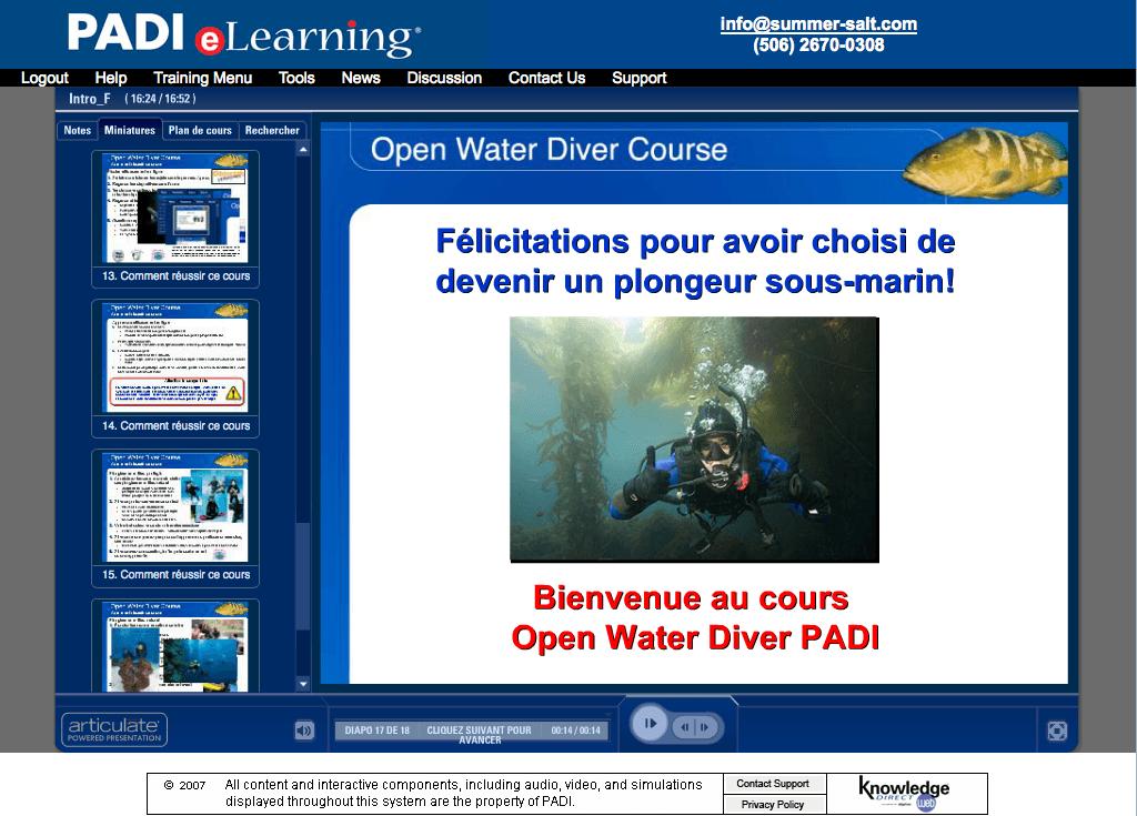 Cours PADI Open Water - PADI e-Learning