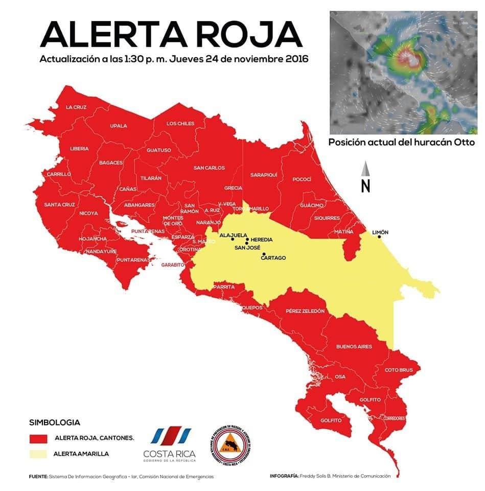 carte alerte : ouragan otto