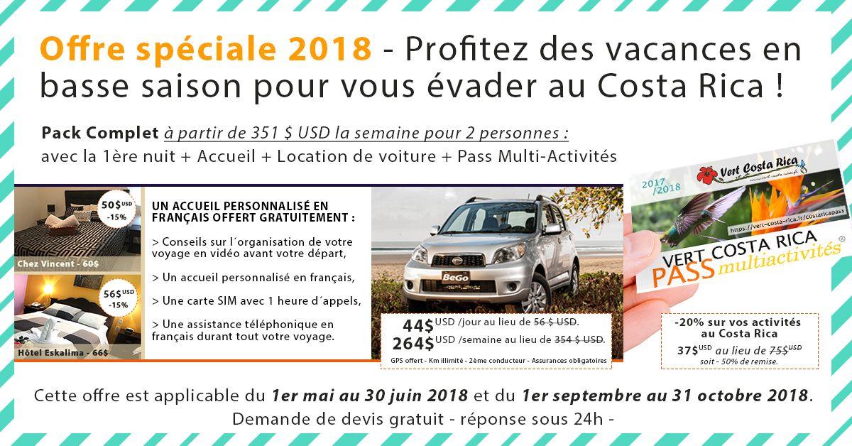Location de voiture au Costa Rica | Offre Spéciale pour profitez des vacances au Costa Rica sur la basse saison - 2018 Vert-Costa-Rica