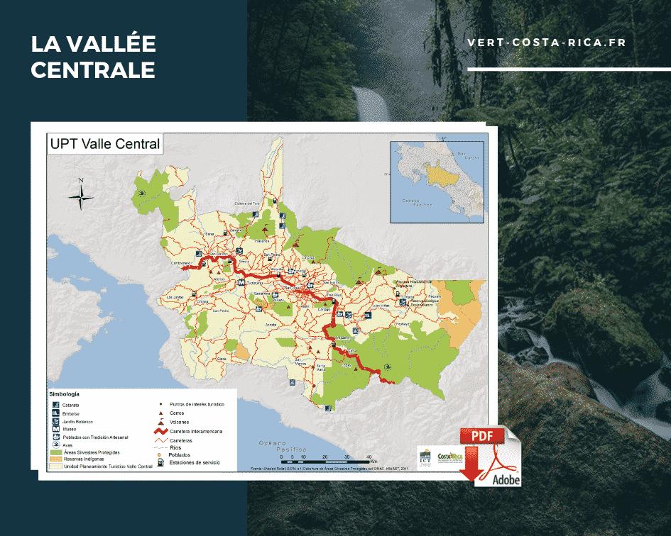 Carte touristique PDF de la région de la Vallée centrale, Costa Rica