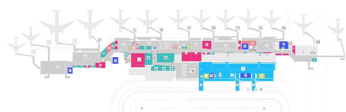 Carte de l'aéroport Juan Santamaria au Costa Rica