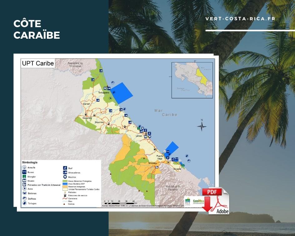 Carte touristique PDF de la région des Caraïbes, Costa Rica