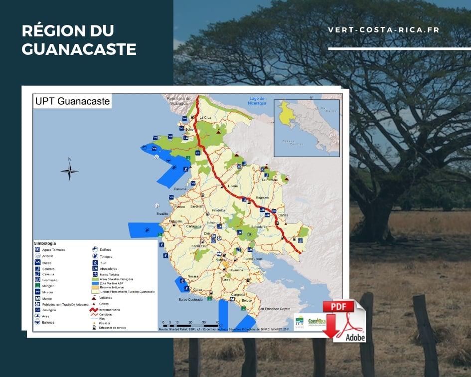 Carte touristique PDF de la région du Guanacaste, Costa Rica
