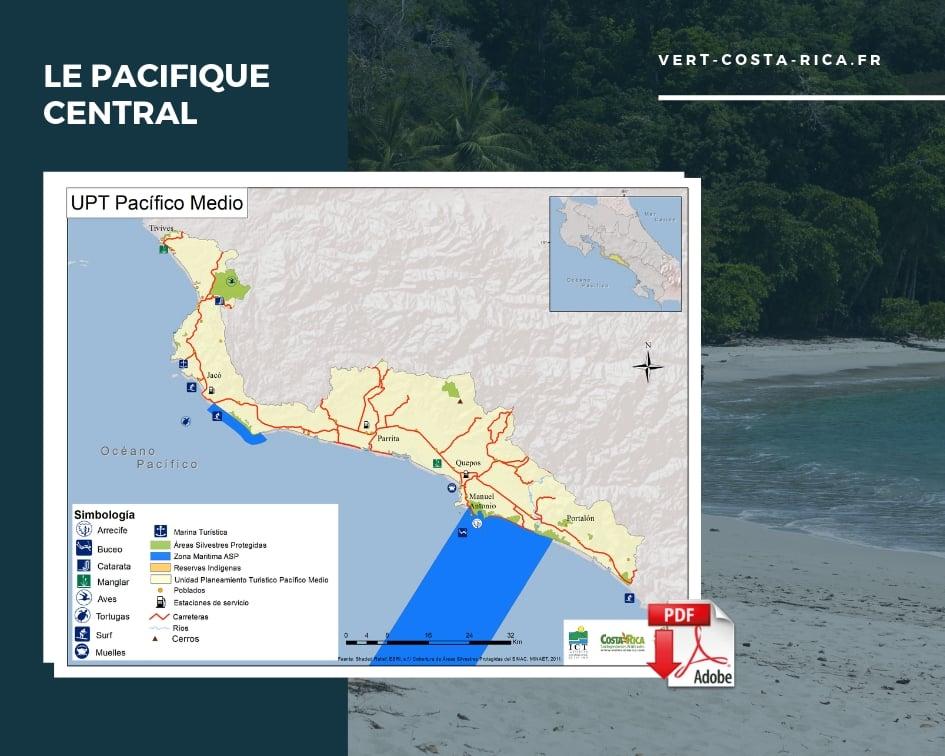 Carte touristique PDF de la région Pacifique Central, Costa Rica