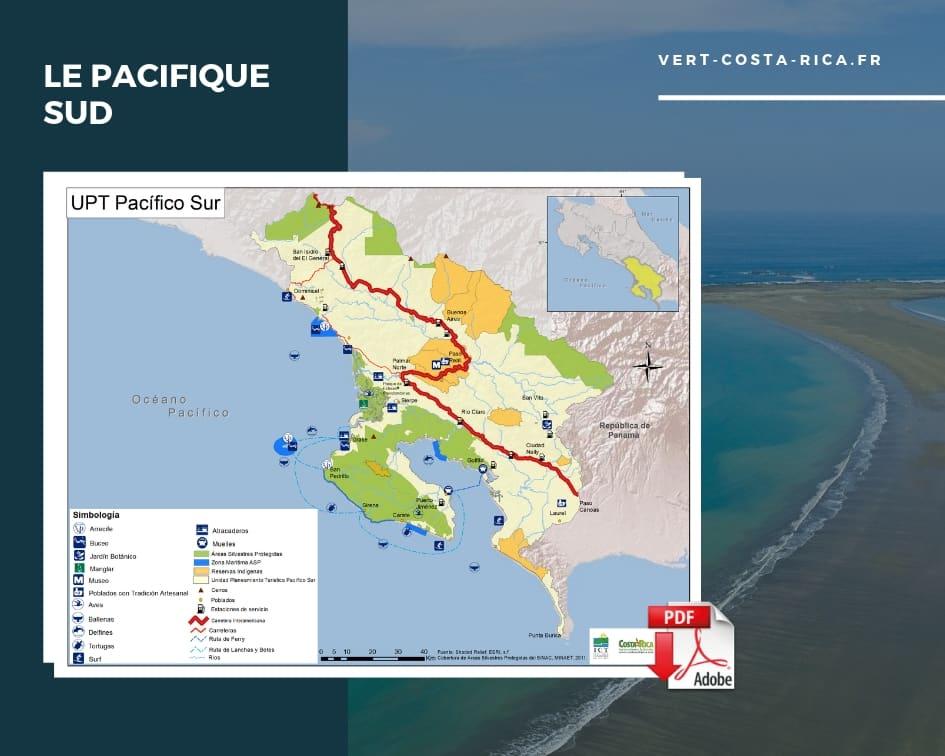 Carte touristique PDF de la région Pacifique Sud, Costa Rica