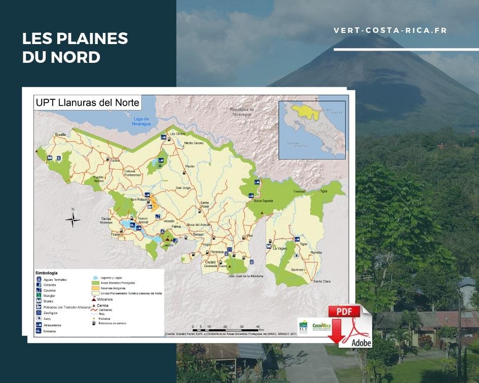 Carte touristique PDF de la région plaines du nord, Arenal, Costa Rica