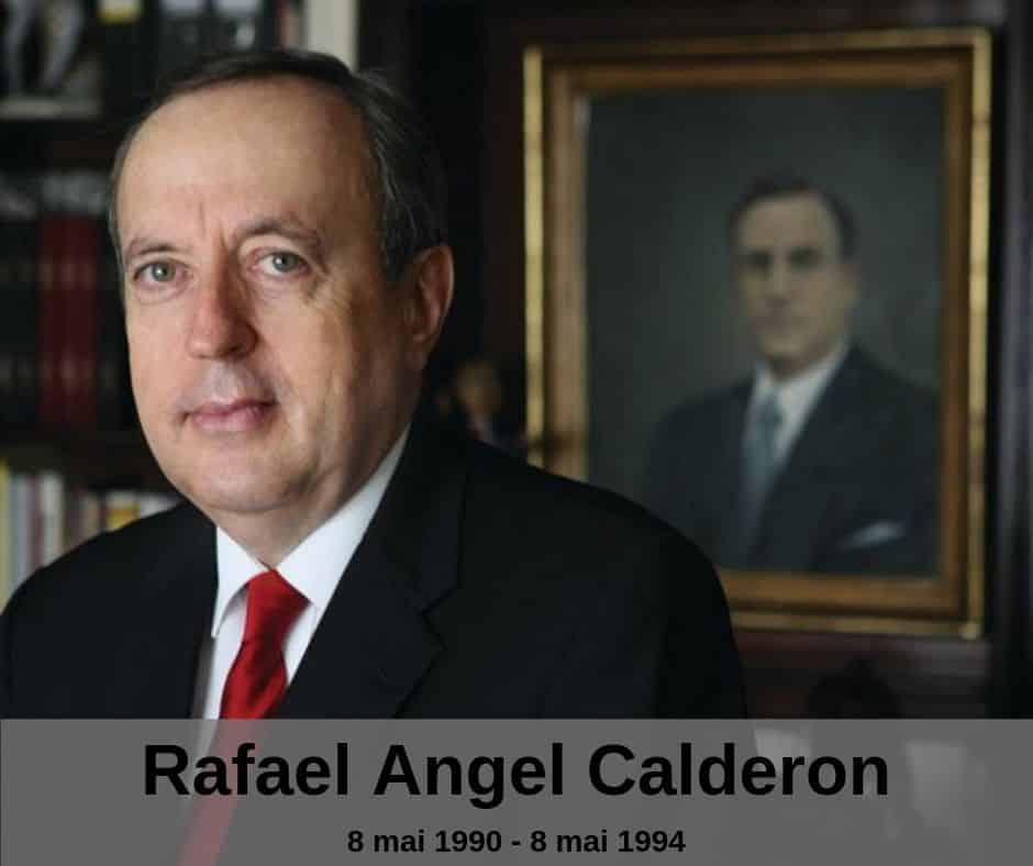 Le président Rafael Angel Calderon du Costa Rica